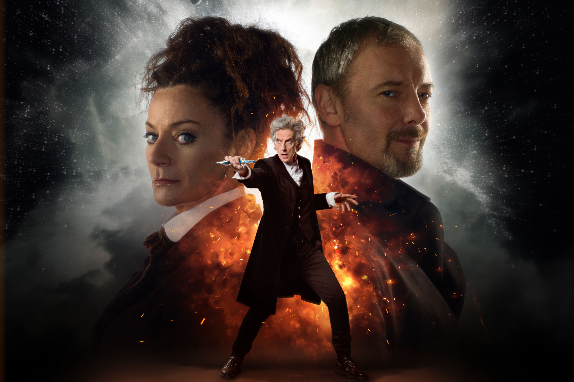 Missy (MICHELLE GOMEZ), The Master (JOHN SIMM), The Doctor (PETER CAPALDI)  (Credit: BBC Simon Ridgway/Ray Burmiston)