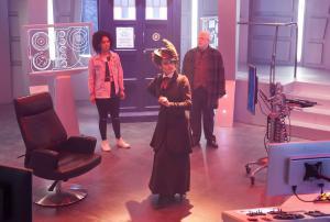 : Bill (Pearl Mackie), Missy (Michelle Gomez), Nardole (Matt Lucas) (Credit: BBC/BBC Worldwide (Jon Hall))