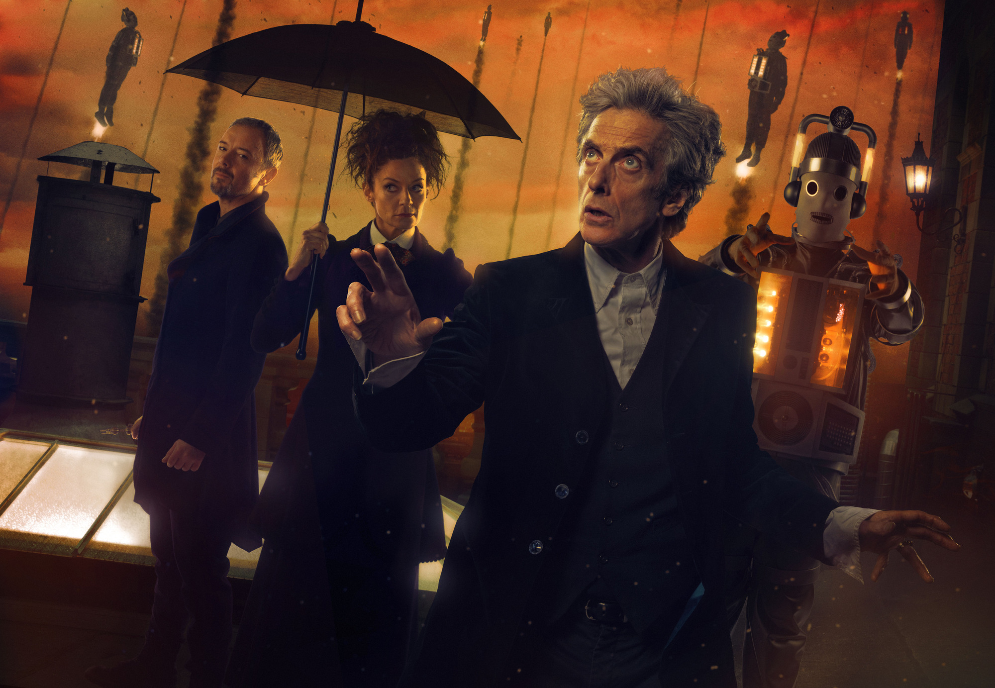 The Doctor Falls : The Master (John Simm), Missy (Michelle Gomez), The Doctor (Peter Capaldi) (Credit: BBC/BBC Worldwide (Simon Ridgway/Ray Burmiston))