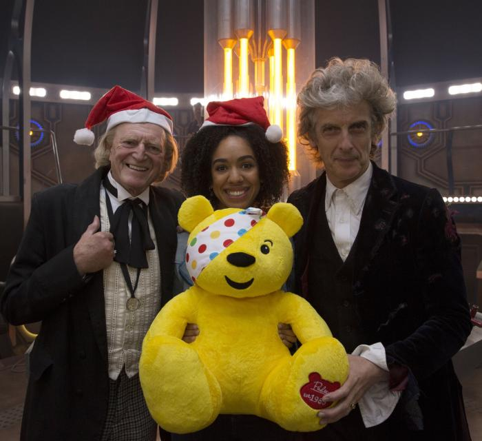 Children in Need 2017 - Peter Capaldi, Pearl Mackie and David Bradley (Credit: BBC/Simon Ridgway)
