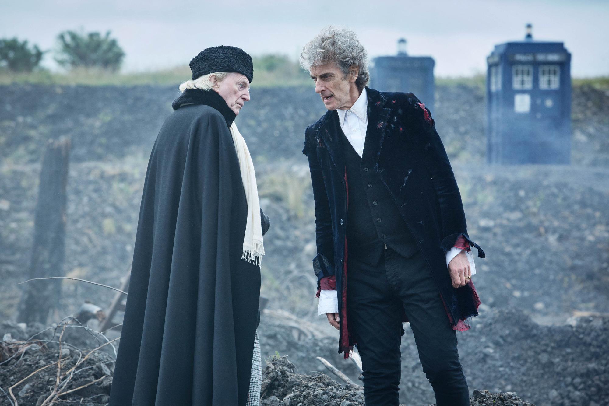 Twice Upon a Time: The First Doctor (David Bradley), The Doctor (Peter Capaldi) (Credit: BBC/BBC Worldwide (Simon Ridgway))