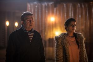 The Woman Who Fell to Earth: Graham (Bradley Walsh), Yaz (Mandip Gill) (Credit: BBC/BBC Worldwide (Ben Blackall))