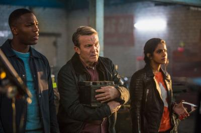 The Woman Who Fell to Earth: Ryan (Tosin Cole), Graham (Bradley Walsh), Yaz (Mandip Gill) (Credit: BBC/BBC Worldwide (Ben Blackall))