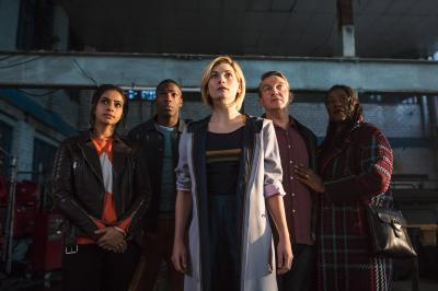The Woman Who Fell to Earth: Yaz (Mandip Gill), Ryan (Tosin Cole), The Doctor (Jodie Whittaker), Graham (Bradley Walsh), Grace (Sharon D Clarke) (Credit: BBC/BBC Worldwide (Sophie Mutevelian ))