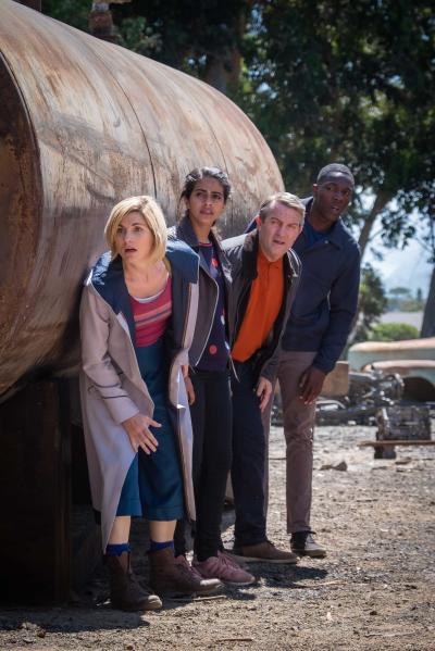 Rosa: The Doctor (Jodie Whittaker), Yaz (Mandip Gill), Graham (Bradley Walsh), Ryan (Tosin Cole) (Credit: BBC Studios (Coco Van Oppens))