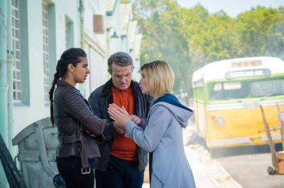Rosa: Yaz (Mandip Gill), Graham (Bradley Walsh), The Doctor (Jodie Whittaker) (Credit: BBC Studios (Coco Van Oppens))