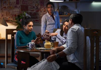 Arachnids In The UK: Sonya (Bhavnisha Parmar), Yaz (Mandip Gill), Najia (Shobna Gulati), Hakim (Ravin J Ganatra) (Credit: BBC Studios (Ben Blackall))