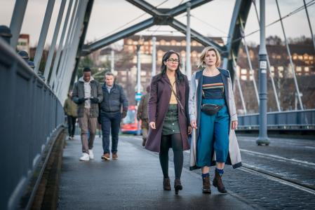 Arachnids In The UK: Ryan (Tosin Cole), Graham (Bradley Walsh), Jade (Tanya Fear), The Doctor (Jodie Whittaker) (Credit: BBC Studios (Ben Blackall))