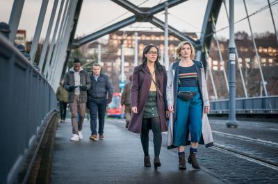 Arachnids In The UK: Ryan (Tosin Cole), Graham (Bradley Walsh), Jade (Tanya Fear), The Doctor (Jodie Whittaker) (Credit: BBC Studios (Ben Blackall))