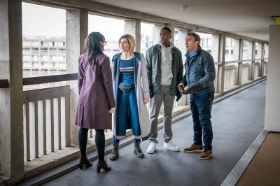 Arachnids In The UK: Jade (Tanya Fear), The Doctor (Jodie Whittaker), Ryan (Tosin Cole), Graham (Bradley Walsh) (Credit: BBC Studios (Ben Blackall))