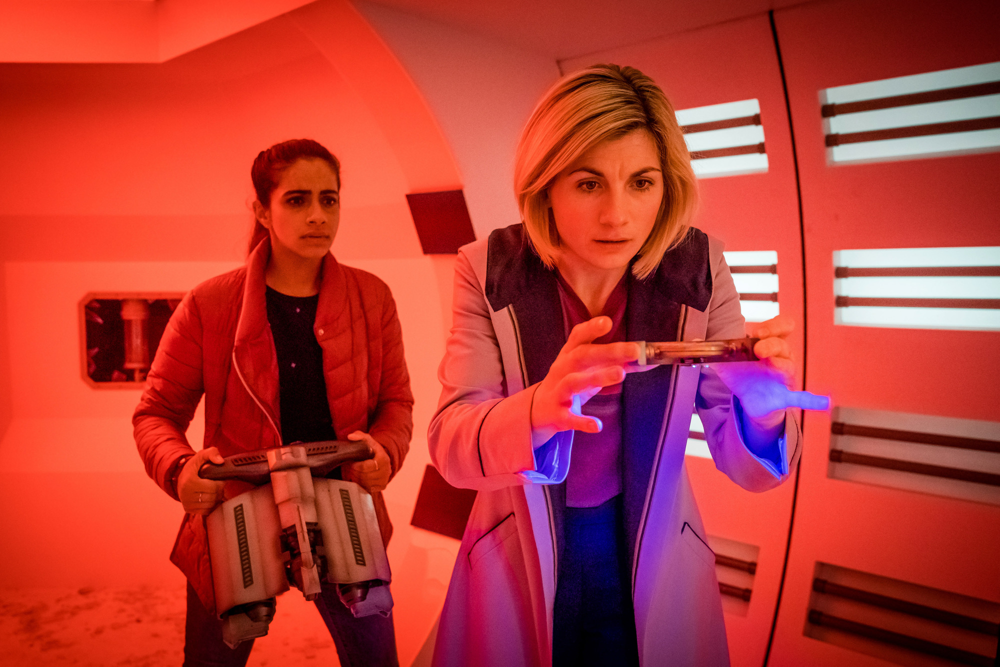 The Tsuranga Conundrum: Yaz (Mandip Gill), The Doctor (Jodie Whittaker) (Credit: BBC Studios (Ben Blackall))