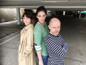 Catrin Stewart, Neve McIntosh, Dan Starkey (Credit: Big Finish)