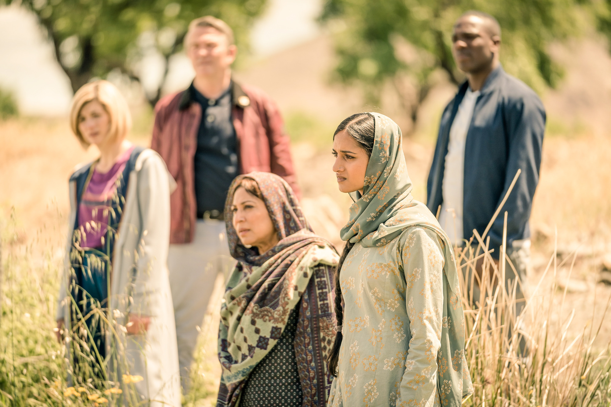 Demons Of The Punjab: The Doctor (Jodie Whittaker), Graham (Bradley Walsh), Hasna (Shaheen Khan), Umbreen (Amita Suman), Ryan (Tosin Cole) (Credit: BBC Studios (Ben Blackall))