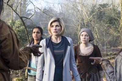 The Witchfinders: Yaz (Mandip Gill), The Doctor (Jodie Whittaker), Willa Twiston (Tilly Steele) (Credit: BBC Studios (Sophie Mutevelian ))