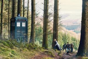It Takes You Away: The Tardis, The Doctor (Jodie Whittaker), Ryan (Tosin Cole), Yaz (Mandip Gill), Graham (Bradley Walsh) (Credit: BBC Studios (Simon Ridgway))