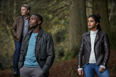 It Takes You Away: Graham (Bradley Walsh), Tosin Cole, Yaz (Mandip Gill) (Credit: BBC Studios (Simon Ridgway))