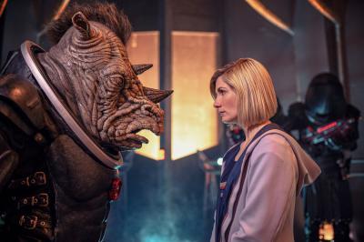 Judoon Captain, The Doctor (Jodie Whittaker) (Credit: BBC Studios (James Pardon))