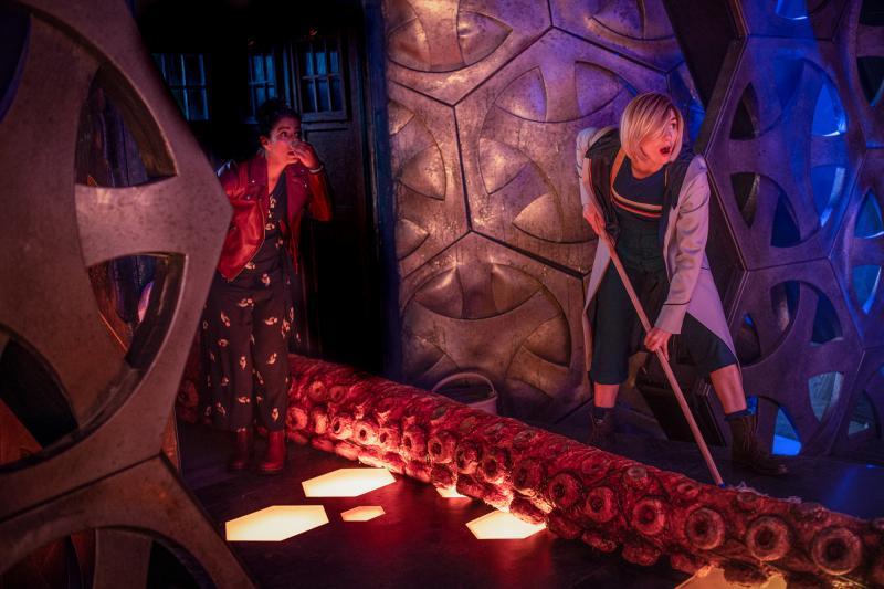 Orphan 55: Yaz (Mandip Gill), The Doctor (Jodie Whittaker) (Credit: BBC Studios (Ben Blackall))