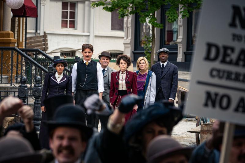 Nikola Tesla's Night of Terror: Yaz (Mandip Gill), Nikola Tesla (Goran Visnjic), Graham (Bradley Walsh), Dorothy Skerrit (Haley Mcgee), The Doctor (Jodie Whittaker), Ryan (Tosin Cole) (Credit: BBC Studios (Ben Blackall))