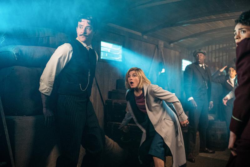 Nikola Tesla's Night of Terror: Nikola Tesla (Goran Visnjic), The Doctor (Jodie Whittaker), Ryan (Tosin Cole), Yaz (Mandip Gill), Graham (Bradley Walsh) (Credit: BBC Studios (Ben Blackall))