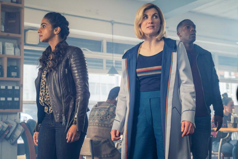 Fugitive of the Judoon: Yaz (Mandip Gill), The Doctor (Jodie Whittaker), Ryan (Tosin Cole) (Credit: BBC Studios (James Pardon))