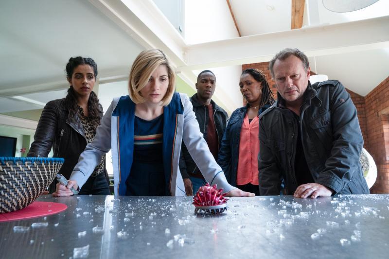Fugitive of the Judoon: Yaz (Mandip Gill), The Doctor (Jodie Whittaker), Ryan (Tosin Cole), Ruth Clayton (Jo Martin), Lee Clayton (Neil Stuke) (Credit: BBC Studios (Ben Blackall ))
