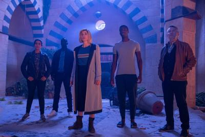 Can You Hear Me?: Yaz (Mandip Gill), Ryan (Tosin Cole), The Doctor (Jodie Whittaker), Tibo (Buom Tihngang), Graham (Bradley Walsh) (Credit: BBC Studios (James Pardon))