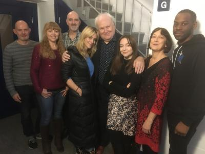 Cry of the Vultriss, with writer Darren Jones, Jo Burke, Nicholas Briggs, Miranda Raison, Colin Baker, Lisa Greenwood, Caroline Lawrie, Daniel Norford (Credit: Big Finish)