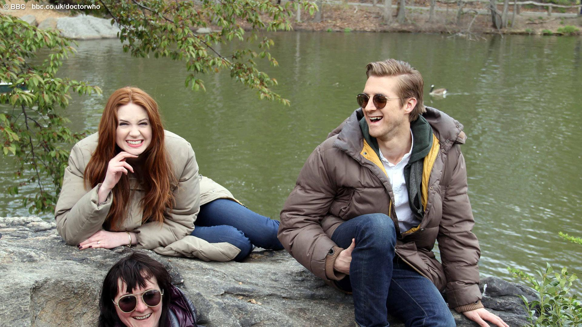 Executive Producer Caroline Skinner with Karen Gillan and Arthur Darvill. Photo: BBC