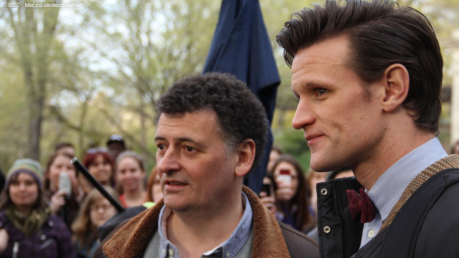Executive Producer and lead writer, Steven Moffat with Matt Smith. Photo: BBC