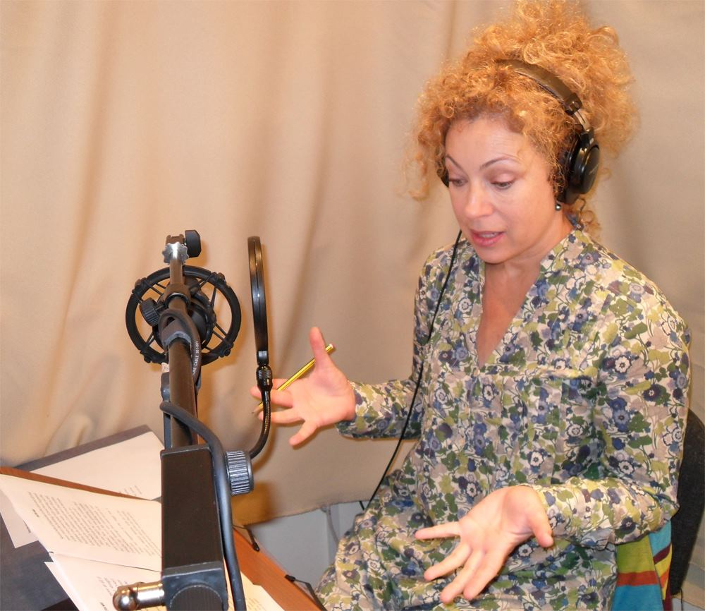 Alex Kingston records The Angel's Kiss. Photo: BBC AudioGo