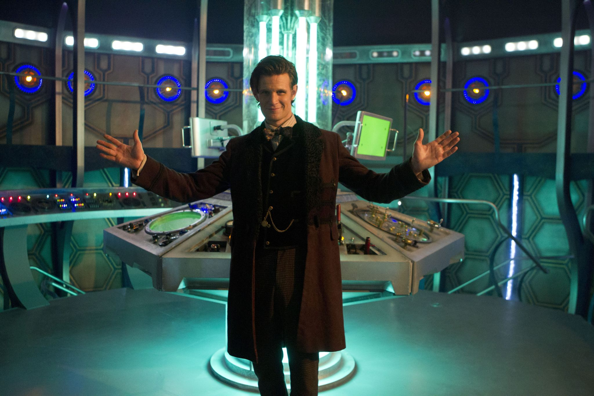 The Doctor (Matt Smith) with the new TARDIS interior. Photo: BBC