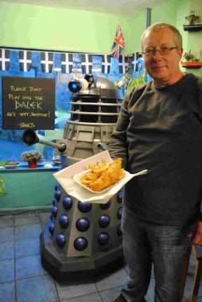 Marc Stonham with his Dalek in Helston. Photo: Falmouth Packet