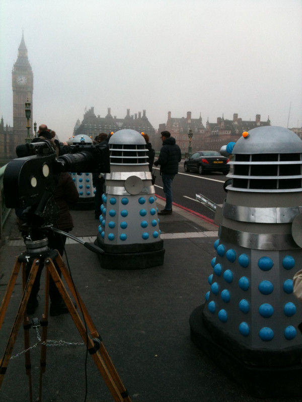 Filming on Westminster Bridge. Photo: Mark Gatiss
