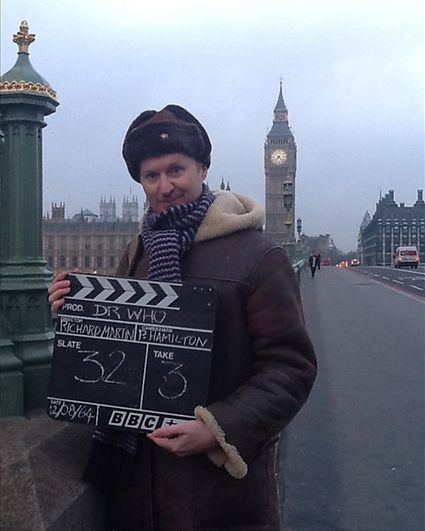 Mark Gatiss on location. Photo: BBC