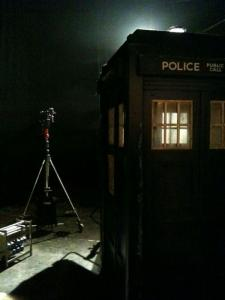 Outside the TARDIS (Credit: Mark Gatiss)