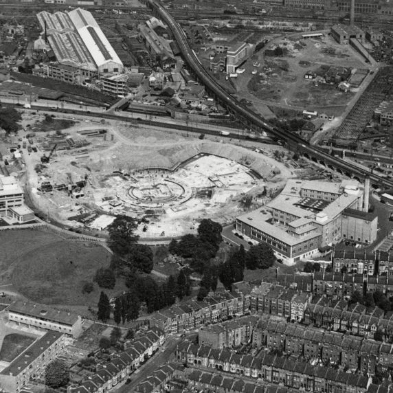 An aerial view of the TVC site during construction (Credit: BBC)