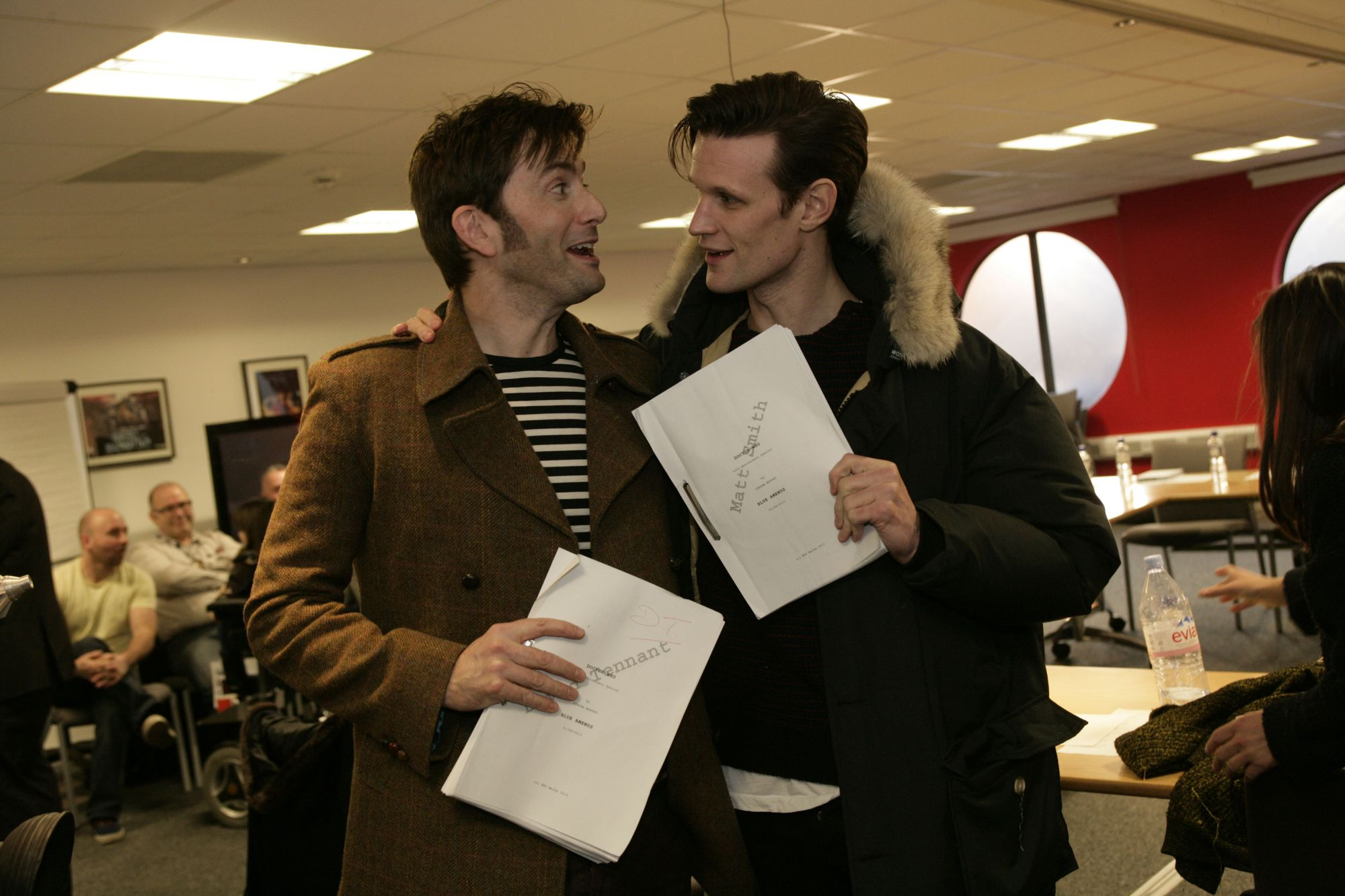 Matt Smith and David together at the 50th Anniversary Special readthrough (Credit: BBC)
